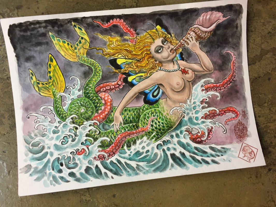 SOLD OUT - ORIGINAL ART Javi Castaño MERMAID II 29,5X42CM