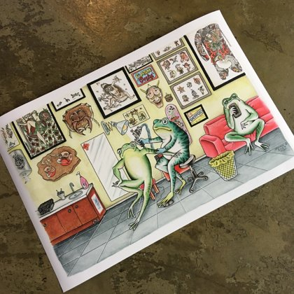"Print 60x40cm -SOLD OUT- ""FROGS TATTOO PARLOUR"" by Juan García."
